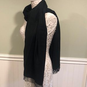 Cejon Black Wool Scarf/Wrap, with Beaded Fringe